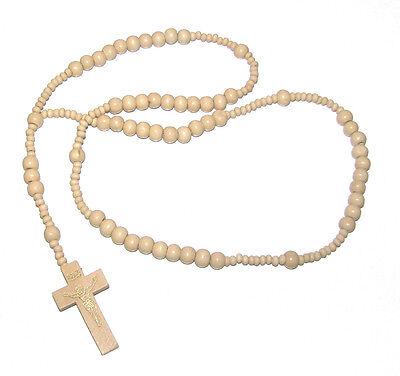 Wood Rosary Cream Chain Prayer Beads Crucifix Gold Jesus Holy Cross Necklace
