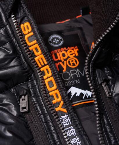 Superdry Storm Hybrid Reißverschluss Hoodie Herren Kapuze Jacke Top Black Granit