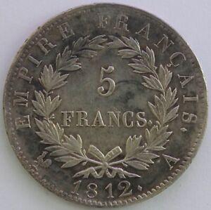 Frankreich-5-Franken-Napoleon-Kaiser-1812-Mit-Sg