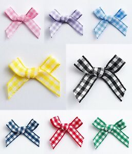 Pack-1-10-25-or-100-Miniature-3cm-Pre-Tied-Gingham-6mm-Ribbon-Bows