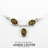 Italian Style Silver Necklace With Green And Baltic Amber |n094|rrp£175