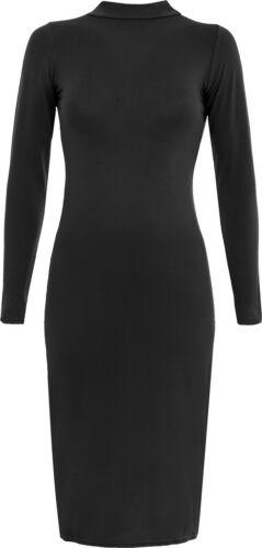 New Women/'s Polo Tortue Col haut à manches longues Plain Stretch Bodycon Midi Robe