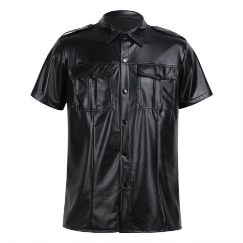 Men/'s Faux Leather Slim Fit Short Sleeve Muscle Tee T-shirt Police Uniform Tops