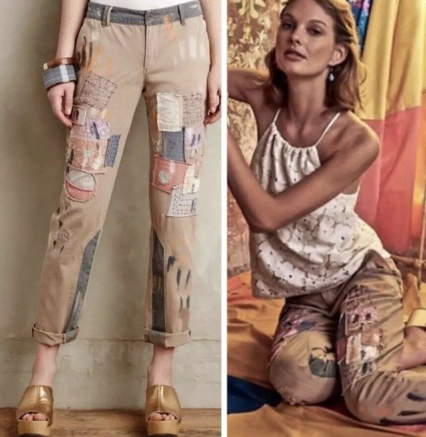 Pilcro And The Letterpress Kkaki Pants Patchwork Embellished Jeans Womens 27