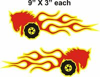 Pair Wheel Horse In Flames Tractor Vinyl Decals 9 X 3 Each