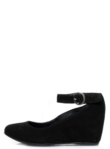 Suede Round Toe Ankle Strap Wedge Pumps Chelsea Crew Romina