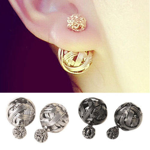 Durable Women Double Sides Hollowed Gold Plated Ball Ear Studs Earrings Jewelry