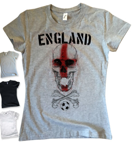 T-Shirt Femme Angleterre skull tete de mort coupe du monde 2018 Football Fan Football S-XL