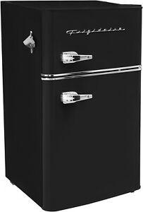 New Black 3.2 Cu Ft Retro Mini Fridge 2 Door Freezer Refrigerator Dorm Office