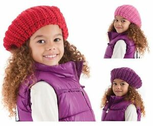 Girls Chunky Knitted Beanie Beret Lurex Hat Purple   Hot Pink Age 5 ... 42d2736307a0