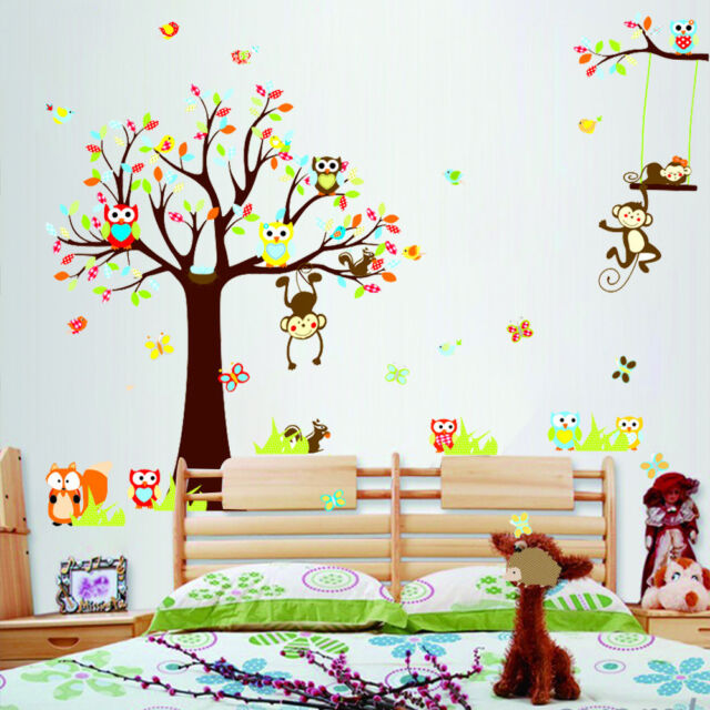Extra Large Monkey Owl Animals Tree Wall Sticker Removable Decal Kids Room Decor