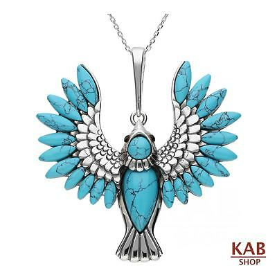 TURQUOISE GEMSTONE & STERLING SILVER 925 BEAUTY PENDANT BIRD. KAB-337