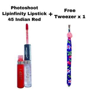 PHOTOSHOOT 2 STEP LIPINFINITY LIQUID LIPSTICK 45 INDIAN RED & FREE TWEEZER x 1