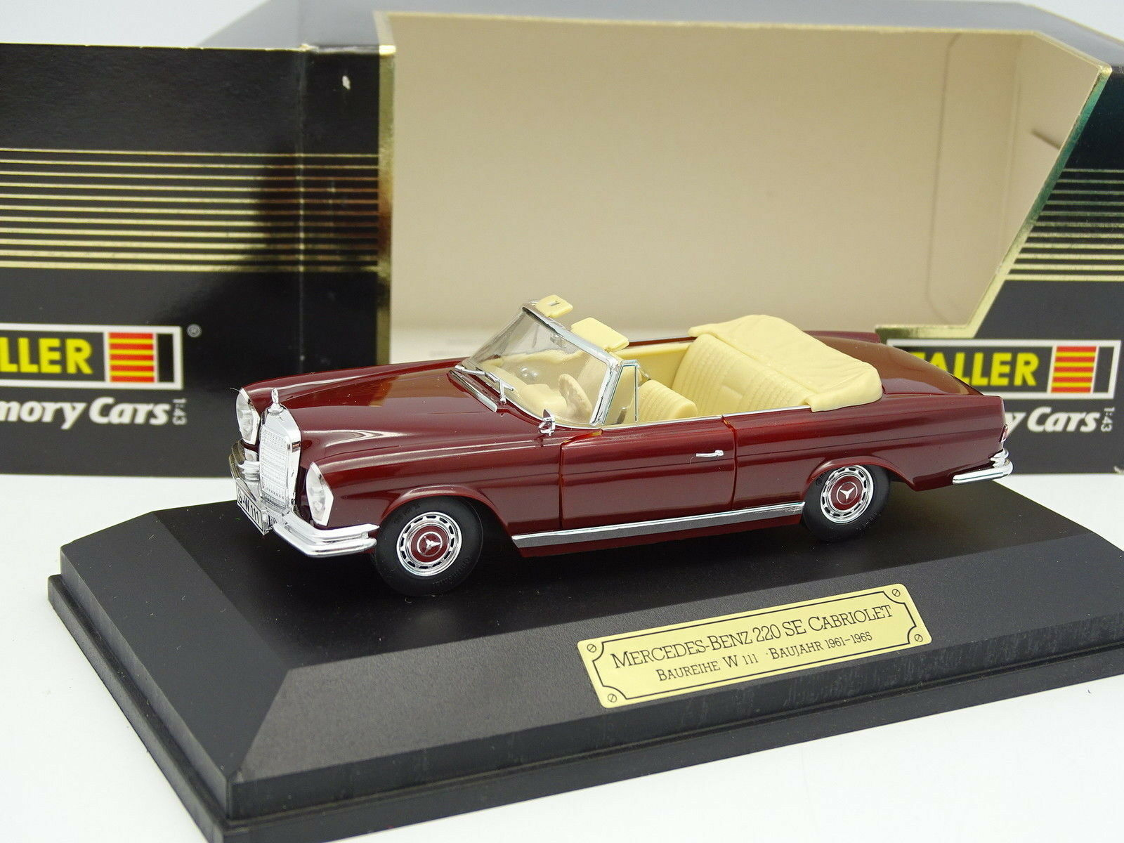 FALLER 1 43 - MERCEDES 220 sich Cabriolet Rot W111 1961