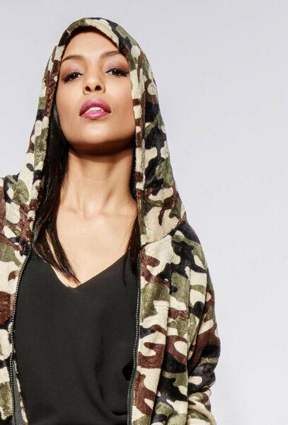 Damen Jacke Sweatshirt Kapuzen pullover Kurzjacke Tarnmuster Camouflage militär