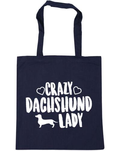 10 litres Crazy Dachshund lady dog Tote Shopping Gym Beach Bag 42cm x38cm