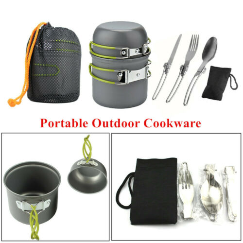 Foldable Outdoor Cookware Camping Hiking Picnic Cooking Bowl Pan Pot Set Green