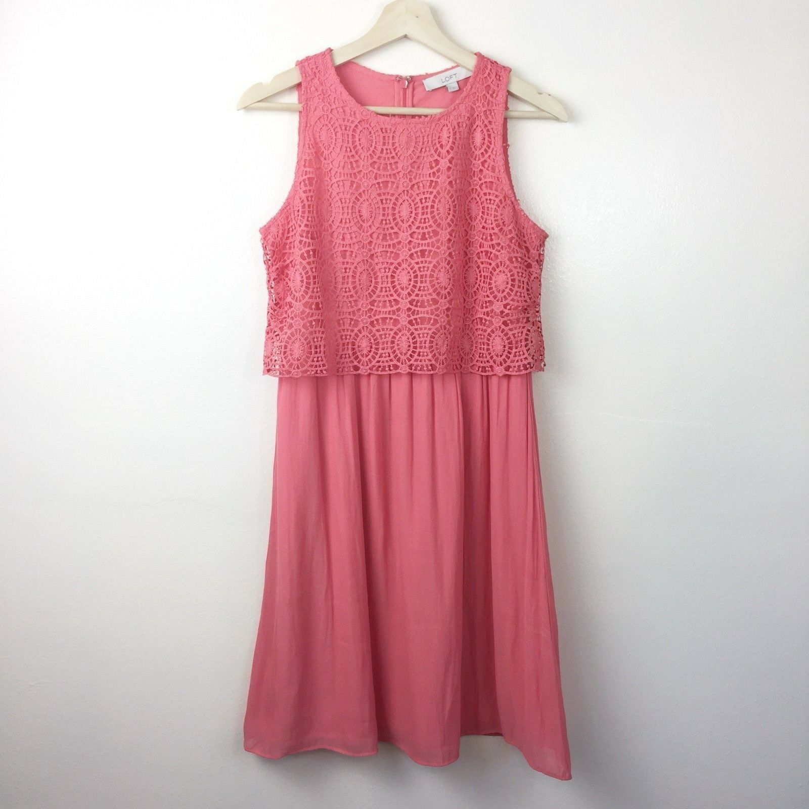 LOFT Circle Lace Bodice Dress Size 2 Coral Pink Layered Look Women's  89.50 NWT
