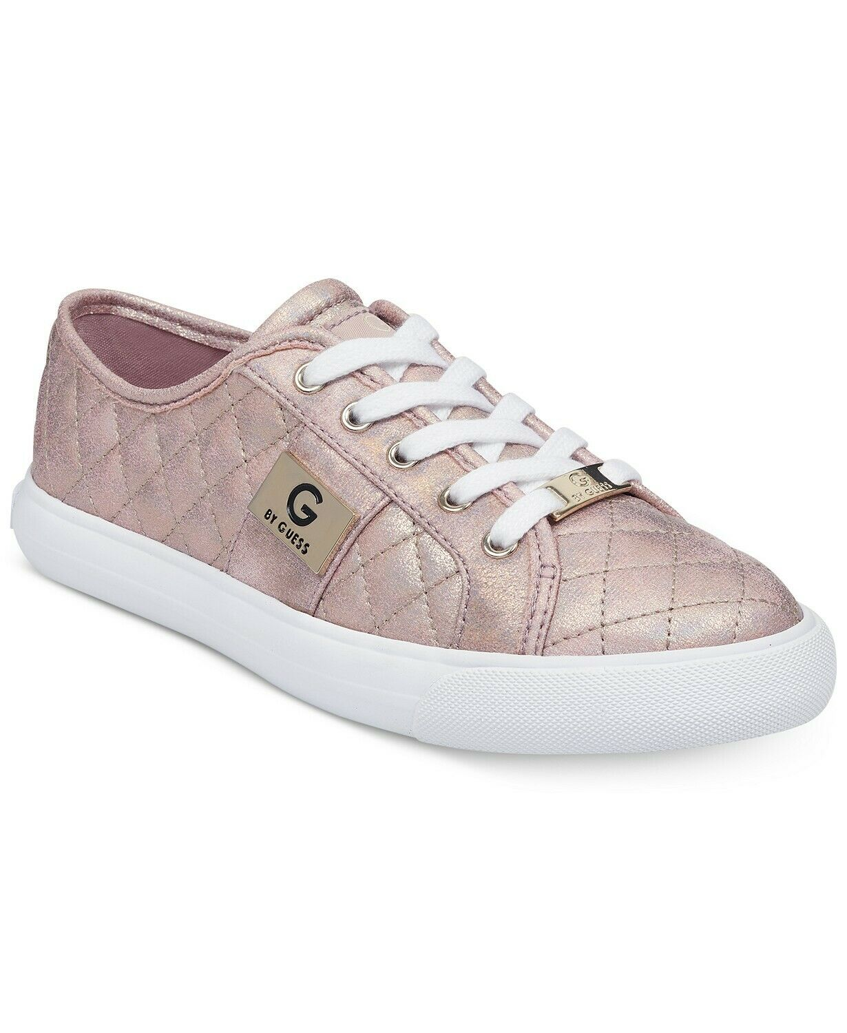 G G G by Guess Women's Backer2 Lace Up Leather Quilted Pattern Sneakers shoes Pink f10a1e