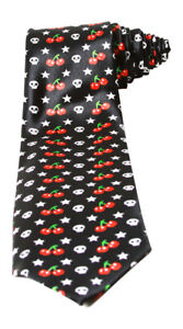 Trendy-Skinny-Tie-Black-with-White-Skulls-and-Red-Cherries
