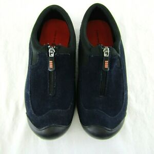 Lands-End-Womens-Blue-Suede-Zip-Up-Slip-On-Shoes-Size-7-5-B