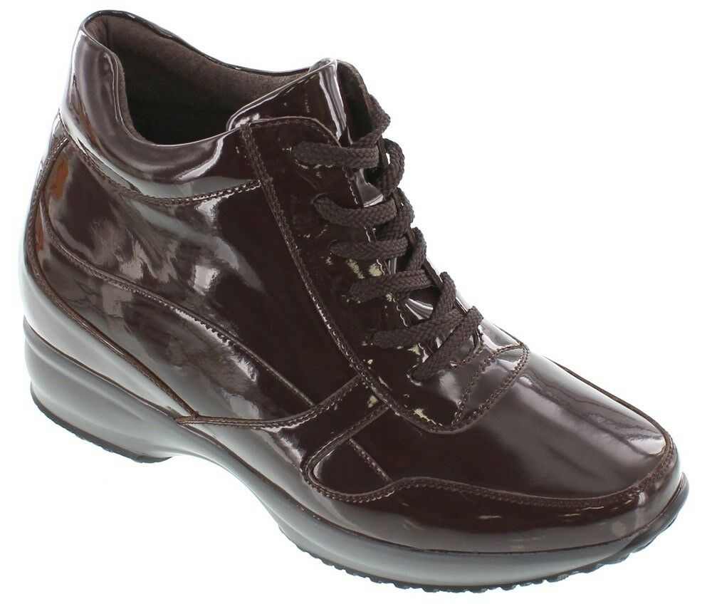 CALTO G65232 - 3.2 Inches Elevator Height Increase Dark Brown Patent Sneaker