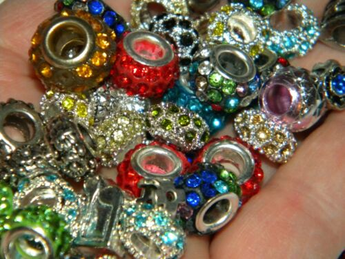 NEW Charms METAL Rhinestone /& European RANDOM Style MIX BEADS 30//pcs lot