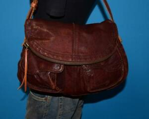 Image Is Loading Lucky Brand Brown Leather Rugged Stash Fold Over