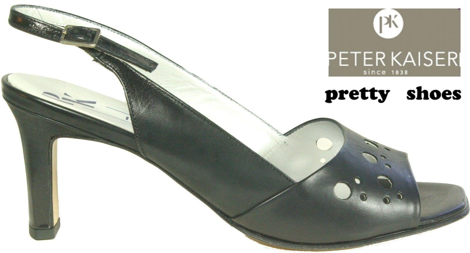 PETER KAISER Schuhe echt Sling Pumps klassisch schwarz high heel echt Schuhe Leder NEU 6d4168