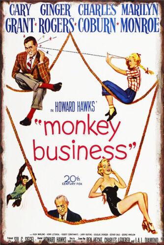 Metal Tin Sign classic film poster monkey business Bar Pub Home Vintage Retro