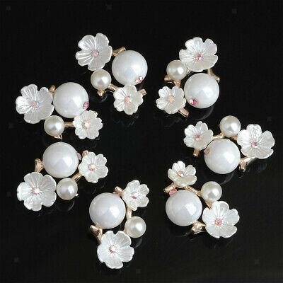 10pcs Rhinestone Pearl Embellishments Love Flower for Wedding Scrapbook Crafts