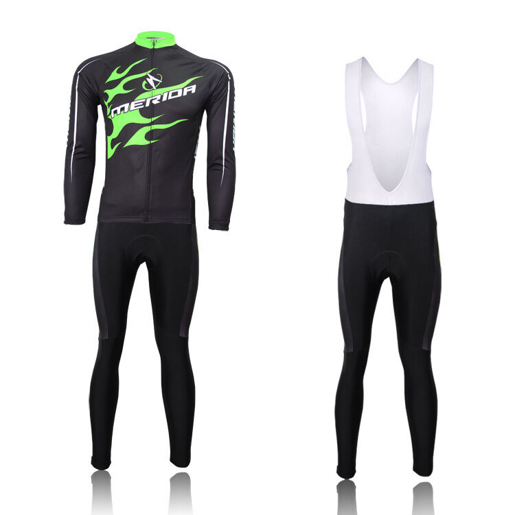 Merida Green Fire Mens Cycling Set Long Sleeve Jersey  and Padded (Bib) Pants Kit  factory outlet