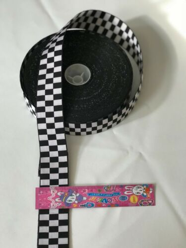 Black /& White Dices Trim Border Crafting   Police,military,Army Cap//Hat Ribbon
