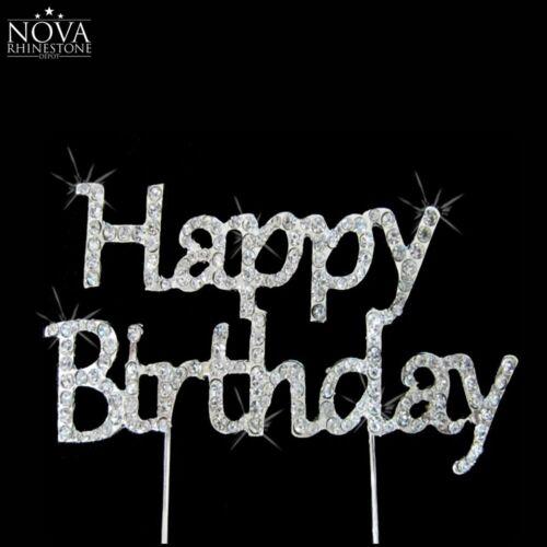Crystal Rhinestone Silver Happy Birthday /& Monogram Anniversary Cake Topper