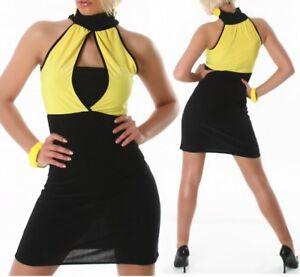 SeXy-Miss-Trendy-Damen-Pencil-Mini-Kleid-Stretch-Dress-schwarz-gelb-34-36-38-NEU