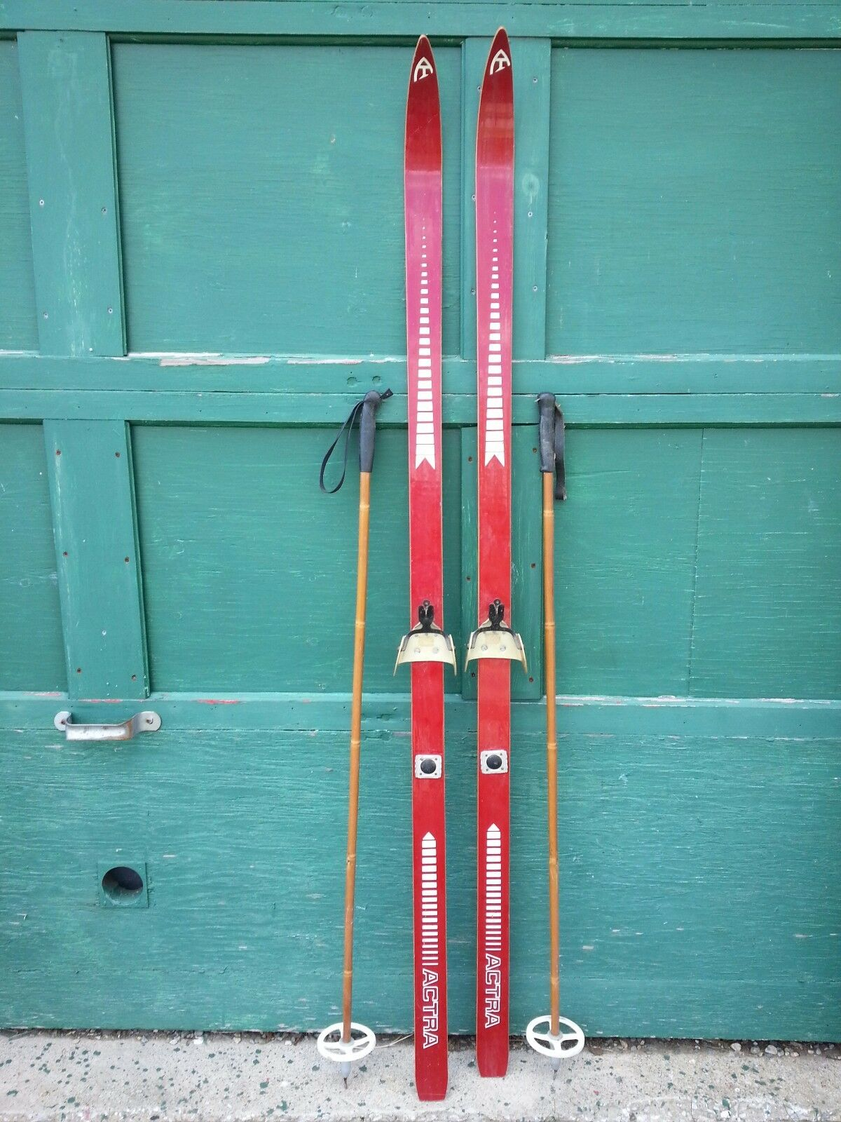 A Very Interesting Vintage Wooden 69  Long Skis RED Finish Signed ACTRA