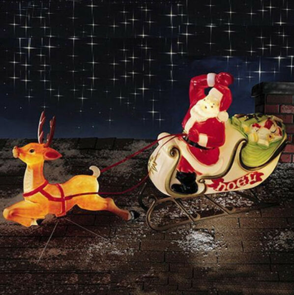 Christmas Santa Sleigh With Reindeer Sled Mold Yard Decor Roof Top For Online Ebay