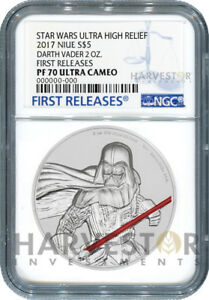 STAR-WARS-DARTH-VADER-ULTRA-HIGH-RELIEF-2-OZ-COIN-NGC-PF70-FIRST-RELEASES