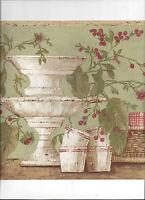 Wallpaper Border Kitchen Baskets Cups Stands Cherries Flowers Arrival Green
