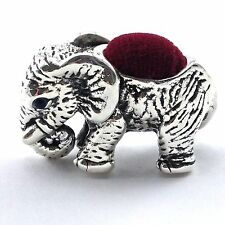NOVELTY ELEPHANT PIN CUSHION SAPPHIRE EYES 925 SOLID STERLING SILVER HALLMARKED