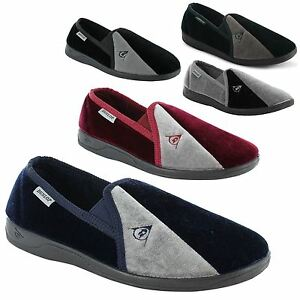 New-Mens-Dunlop-Velour-Twin-Gusset-Slippers-Gents-Shoes-Sizes-UK-7-8-9-10-11-12