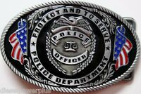 Belt Buckle Replacement Latch United States Police Officer Usa Flag Department