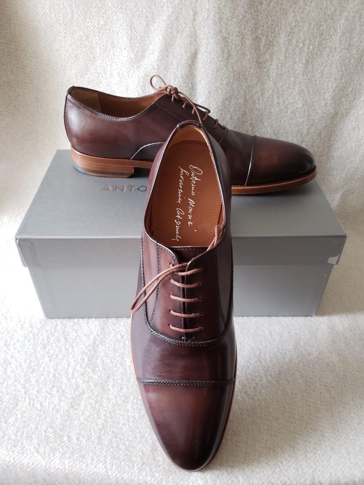 New Antonio Maurizi 9 US 42 EU Cap Toe Oxford Lace Up Burnished Leather Brown