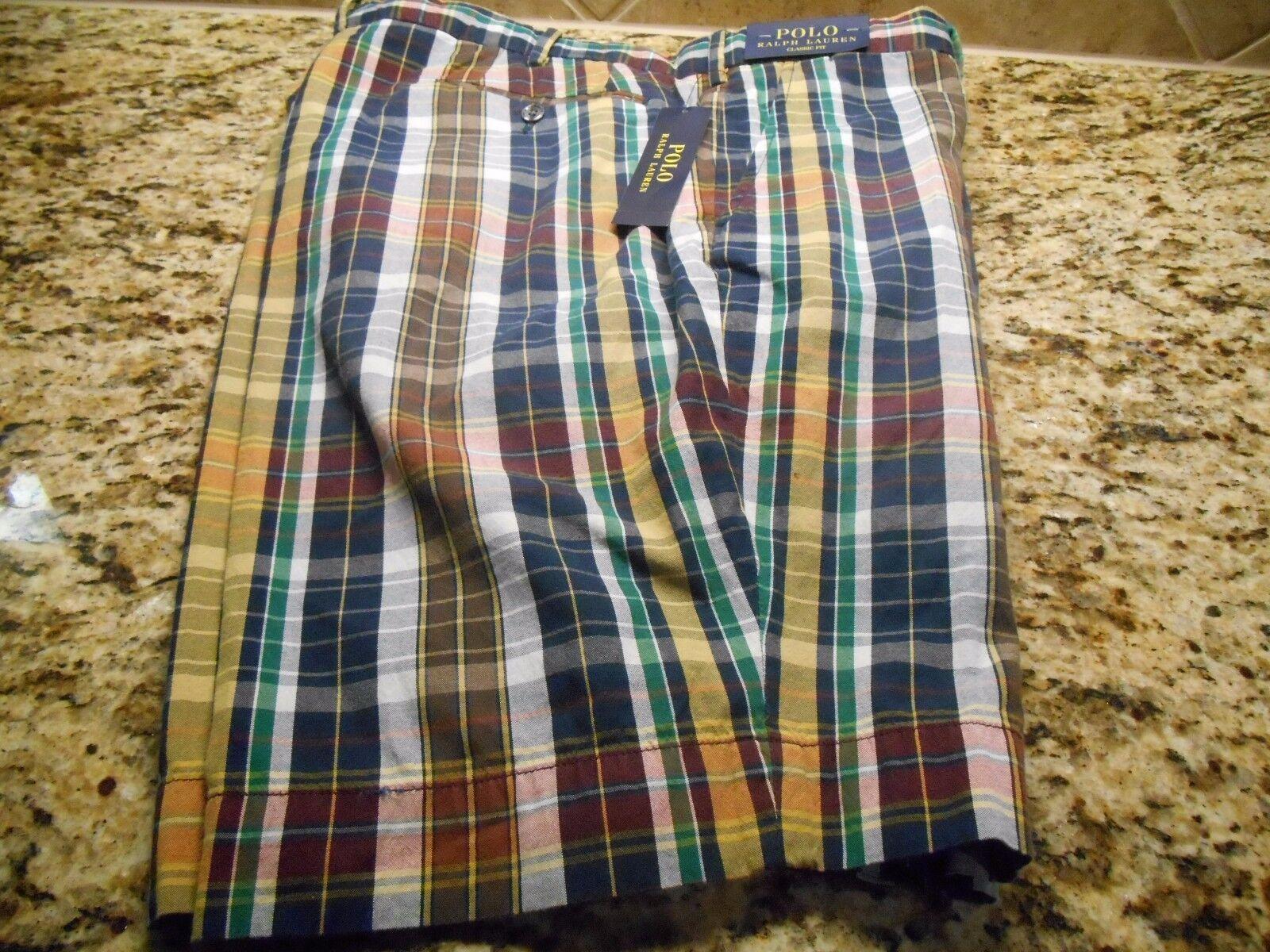 NWT Men Ralph Lauren Polo Madras Watchhill3 Short Waist 38W Plaid Classic Fit