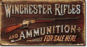 Image is loading Winchester-Rifles-amp-Ammunition-TIN-SIGN-metal-vtg-