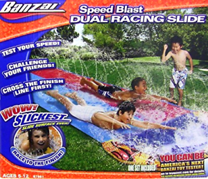 Outdoor Water Slide Dual Racing 2 Lanes 16 Foot Slip and Slide for Kids Children