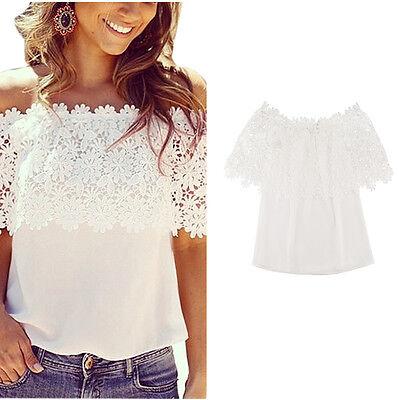 Sexy Womens White Lace Chiffon Off Shoulder Top Shirt Casual Blouse T-Shirt