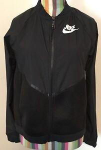 Details about Nike Womens Tech Hypermesh Bomber Jacket Black 725850 010 Small Windrunner White