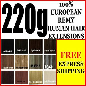 EXTRA-THICK-FULL-HEAD-CLIP-IN-100-REMY-HUMAN-HAIR-EXTENSIONS-BROWN-BLONDE-BLACK