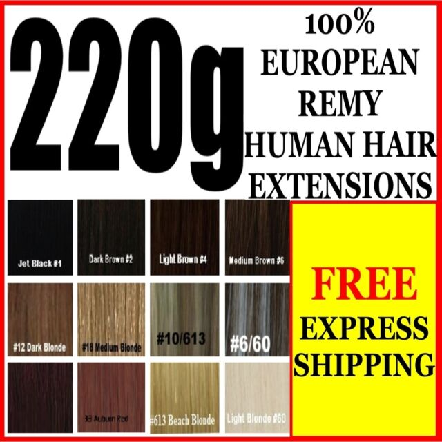EXTRA THICK FULL HEAD CLIP IN 100% REMY HUMAN HAIR EXTENSIONS BROWN BLONDE BLACK